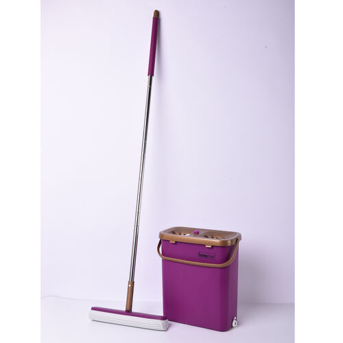 HOMESMART Sponge Head Mop with Dual Tank Bucket in Purple and Gold Colour (Size 141.5x33cm)