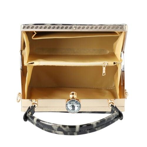 BOUTIQUE COLLECTION Leopard Pattern Shoulder Bag with Detachable and Adjustable Strap (Size 22x14x18 Cm) - Grey