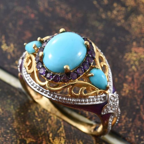 GP Arizona Sleeping Beauty Turquoise (Ovl 2.25 Ct), Amethyst, Kanchanaburi Blue Sapphire and Natural Cambodian Zircon Ring in 14K Gold Overlay Sterling Silver 3.210 Ct.