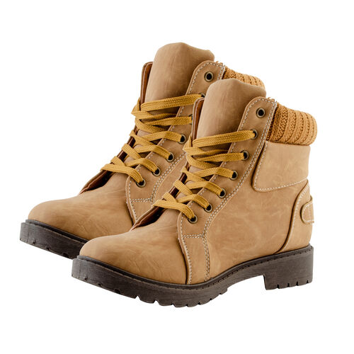 DOD - Khaki Knitted Collar Hiker Boots (Size 6)