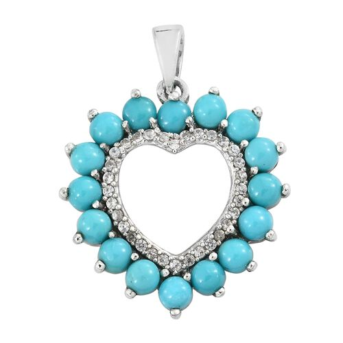 Arizona Sleeping Beauty Turquoise (Rnd), Natural Cambodian Zircon Heart Pendant in Platinum Overlay Sterling Silver 2.000 Ct.