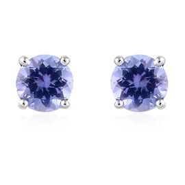 9K White Gold AA Tanzanite (Rnd) Stud Earrings (with Push Back) 1.000 Ct.