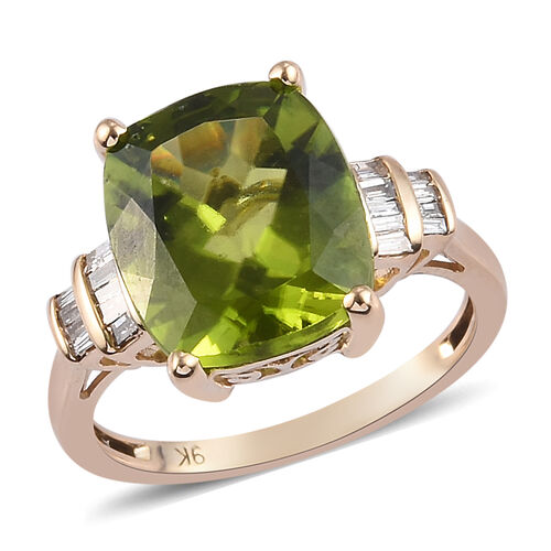5.35 Ct Hebei Peridot and Diamond Solitaire Ring in 9K Gold