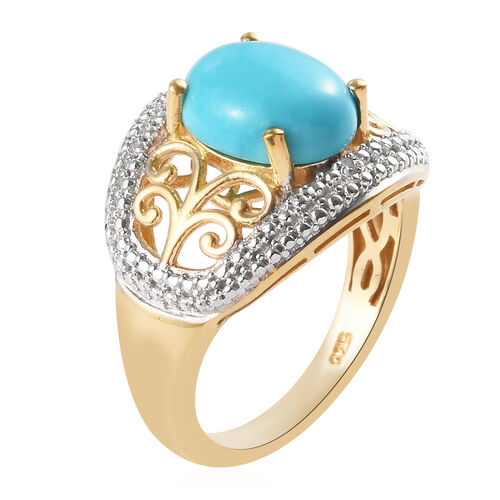 Arizona Sleeping Beauty Turquoise (Ovl 10x8mm), Diamond Solitaire Ring in 14K Gold Overlay Sterling Silver 2.26 Ct.