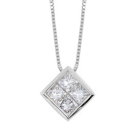 ILIANA 18K White Gold Diamond (Sqr) (SI/G-H) Pendant with Chain (Size 18) 0.600 Ct.