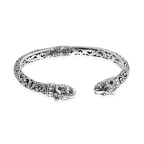 Royal Bali Collection Sterling Silver Leopard Head Cuff Bangle (Size 7.25), Silver wt 22.38 Gms.