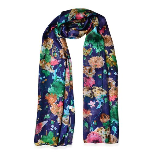 100% Mulberry Silk Navy, Red and Multi Colour Floral and Butterfly Printed Scarf (Size 180X110 Cm)