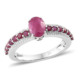 9K White Gold AAA Burmese Ruby (Ovl), Diamond Ring 1.500 Ct.