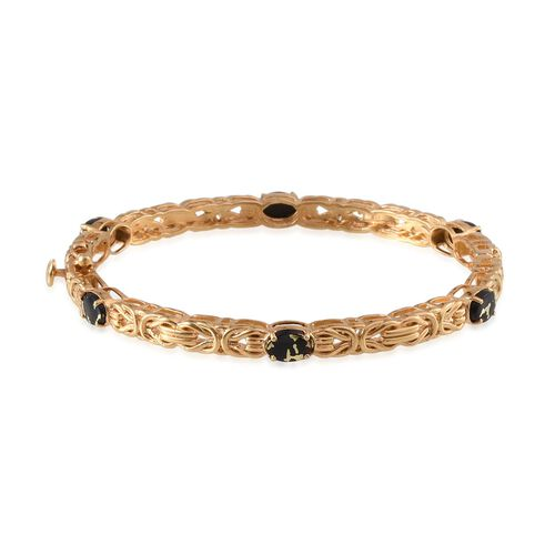 Goldenite (Ovl) Bangle (Size 7.5) in 14K Gold Overlay Sterling Silver 3.750 Ct. Silver wt 17.49 Gms.