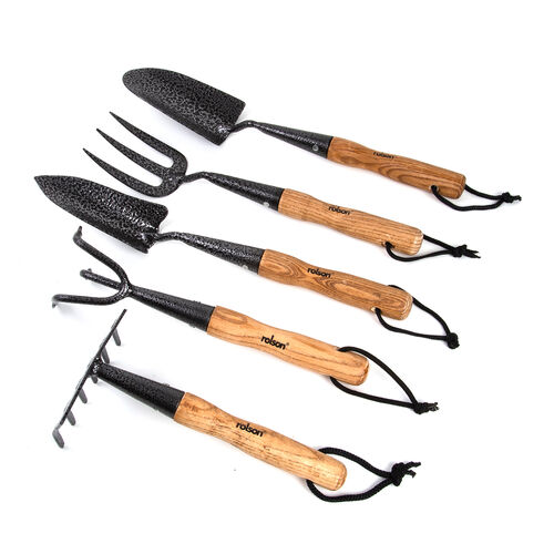 ROLSON 5 Piece Set Midi Carbon Steel Hand transplanter,Prong Cultivator,Hand Rake,Fork and Trowel