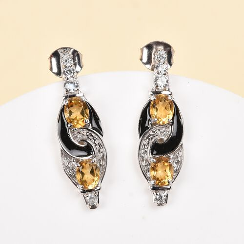 AA Citrine and Natural Cambodian Zircon Fancy Earrings (with Push back) in Platinum Overlay Sterling Silver 1.75 Ct.