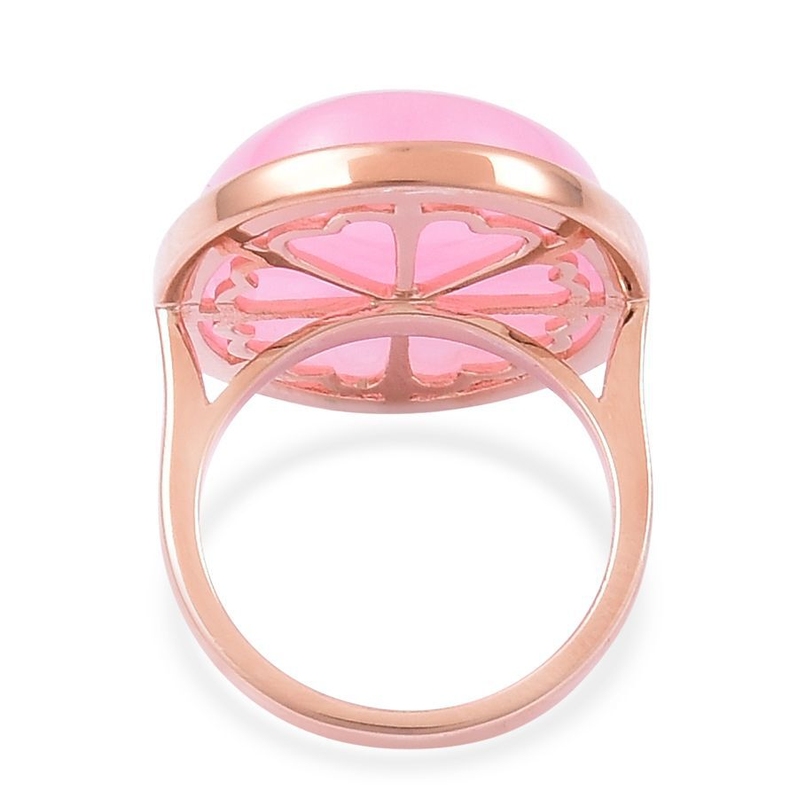 Pink Jade (Ovl) Ring in Rose Gold Overlay Sterling Silver 28.250 Ct ...