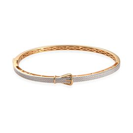 Diamond (Rnd) Buckle Bangle (Size 7.5) in  Yellow Gold Plated