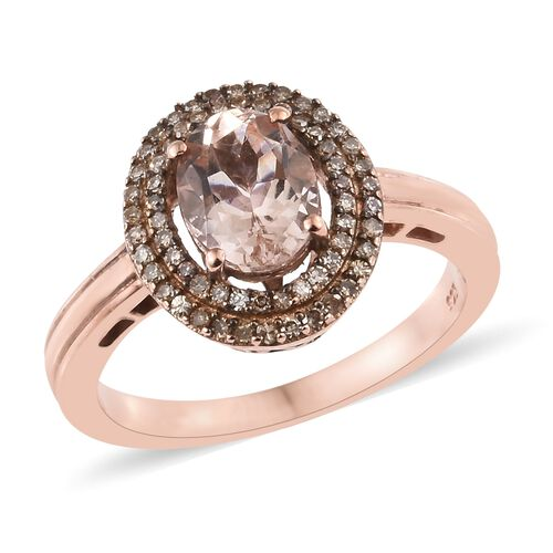 Super Auction- Rare Size AAA Marropino Morganite (Ovl9X7 1.65 Cts), Natural Champagne Diamond (Rnd 0.35 Cts) Ring in Rose Gold Overlay Sterling Silver 2.000 Ct.