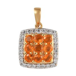 Jalisco Fire Opal and Natural Cambodian Zircon Pendant in 14K Gold Overlay Sterling Silver 1.07 Ct.