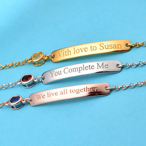 Personalise Engraved Bar and Birthstone Bracelet