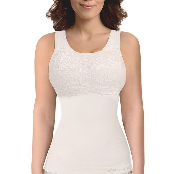 SANKOM SWITZERLAND Patent Vest with Bra and Lace - White Colour (Size XL/XXL)