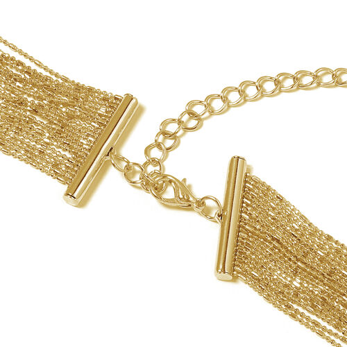 Designer Inspired Multi Row Waterfall Necklace (Size 18 with 4.5 Inch Extender) in Yellow Plated
