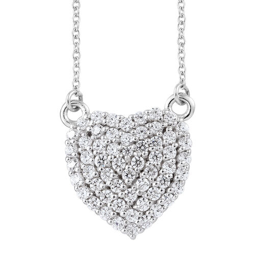 J Francis - Platinum Overlay Sterling Silver (Rnd) Necklace With Chain (Size 18) Made with SWAROVSKI