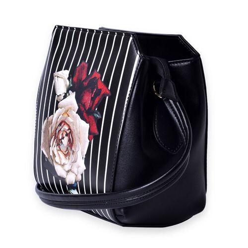 MILANO COLLECTION Rosa Floral Pattern Shoulder Bag with External Zipper Pocket (Size 24.5x22x12.5 Cm)