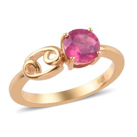 African Ruby Zodiac-Cancer Ring in 14K Gold Overlay Sterling Silver 1.15 Ct.