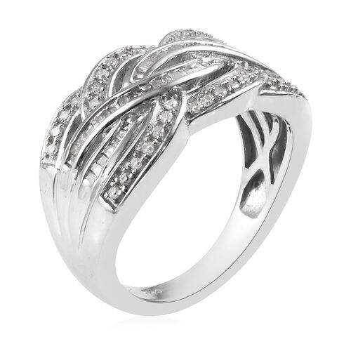 Diamond (Rnd) Crossover Ring in Platinum Overlay Sterling Silver Ring 0.50 Ct