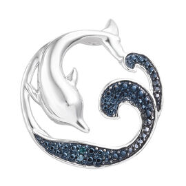 Blue Diamond (Rnd) Dolphin Pendant in Blue and Platinum Overlay Sterling Silver 0.020 Ct.