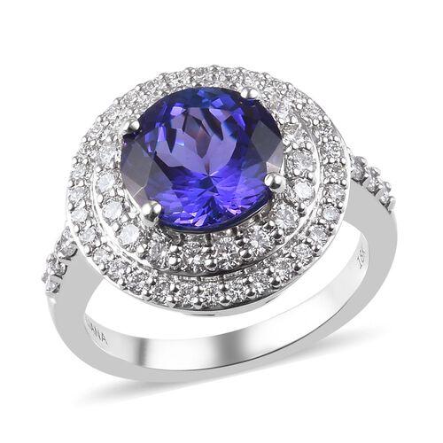ILIANA 18K White Gold AAAA Tanzanite and Diamond (VS/E-F) Ring 4.50 Ct, Gold wt 7.63 Gms