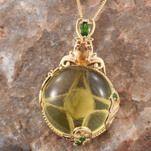 GP Brazilian Green Gold Quartz (Rnd 31.00 Ct), Citrine, Russian Diopside and Kanchanaburi Blue Sapphire Pendant With Chain in 14K Gold Overlay Sterling Silver 32.000 Ct.