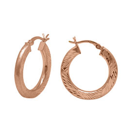 Rose Gold Overlay Sterling Silver Diamond Cut Hoop Earrings (with Clasp), Silver wt 3.10 Gms