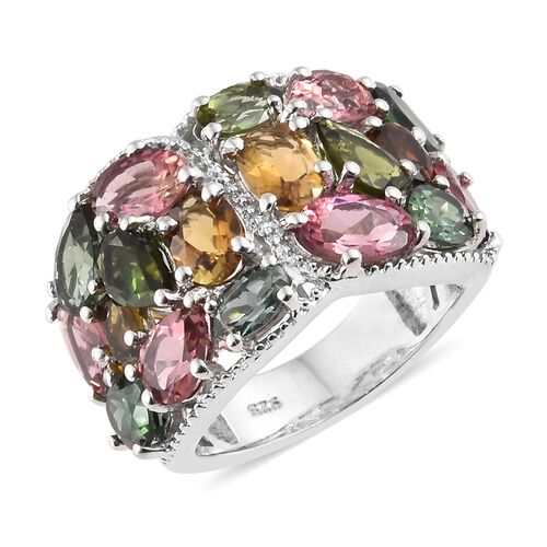 6.50 Ct Rainbow Tourmaline Cluster Ring in Platinum Plated Silver 6.30 Grams