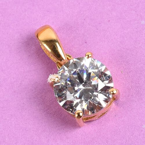J Francis - 14K Gold Overlay Sterling Silver Pendant Made with SWAROVSKI ZIRCONIA 2.29 Ct.