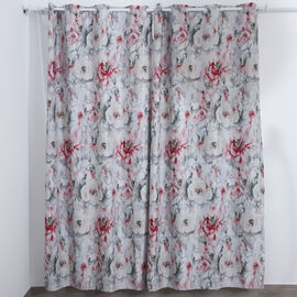 SERENITY NIGHT Set of 2 -  Flower Pattern Blackout Curtain with 8 Eyelets and LED Band (Size 140x240