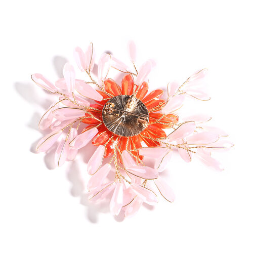 Simulated Rose Quartz, Simulated Orange Sapphire, Yellow Shell Pearl and Simulated Pearl Floral Brooch Yellow Gold Tone