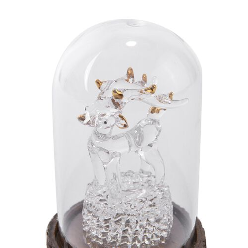 Home Decor - LED Light Christmas Reindeer with Glass Cover (Size 11X7X7 Cm)
