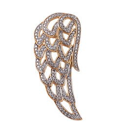 Designer Inspired- Diamond (Rnd) Feather Pendant in 14K Gold Overlay Sterling Silver