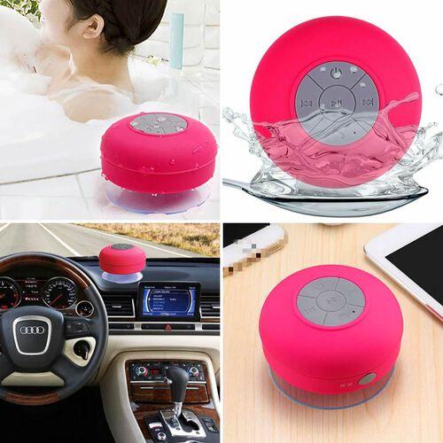 Multi Use Rain / Splash Proof Wireless Bluetooth Stereo Speaker with Built-in Mic. - Pink