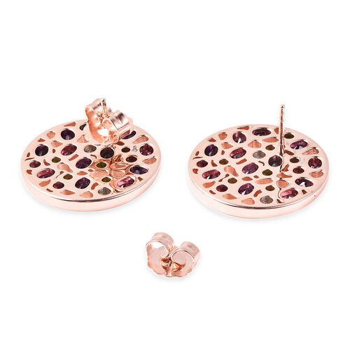 RACHEL GALLEY Rhodolite Garnet, Russian Diopside and Multi Gemstone Stud Earrings (with Push Back) in Rose Gold Overlay Sterling Silver 5.71 Ct, Silver wt 15.53 Gms