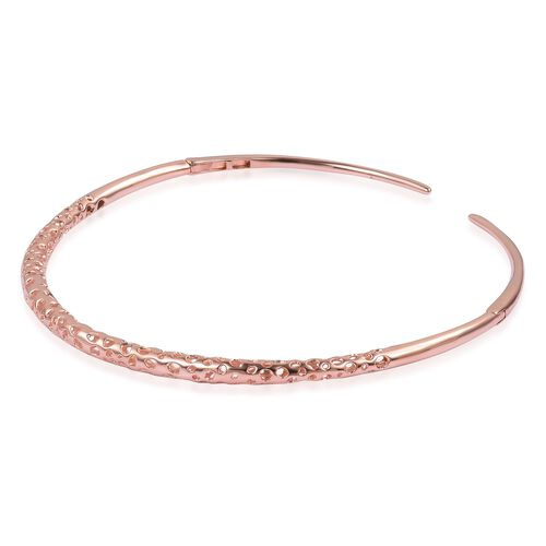 RACHEL GALLEY Rose Gold Overlay Sterling Silver Lattice Choker Necklace (Size 17), Silver wt 51.33 Gms.