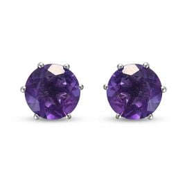 Natural Lusaka Amethyst Stud Earrings (with Push Back) in Platinum Overlay Sterling Silver 3.75 Ct.