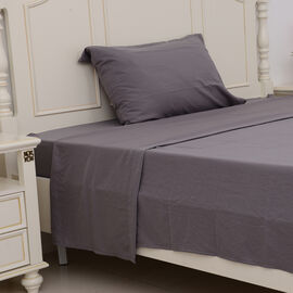 Single Size Sheet Set of 3- Extremely Soft Stone Washed Grey Colour Fitted Sheet (190x90x30 Cm), Fla