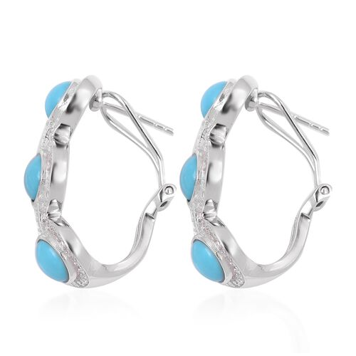 Arizona Sleeping Beauty Turquoise (Ovl 4.50 Ct) and White Zircon Earrings (with French Clip) in Platinum Overlay Sterling Silver 5.335 Ct., Silver wt 9.00 Gms.
