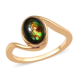 1 Carat Canadian Ammolite Solitaire Ring in 14K Gold Plated Sterling Silver