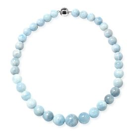 Premium Size Espirito Santo Aquamarine (Rnd 12-19 mm) Graduated Necklace (Size 20) with Magnetic Lock in Rhodium Overlay Sterling Silver 675.000 Ct.