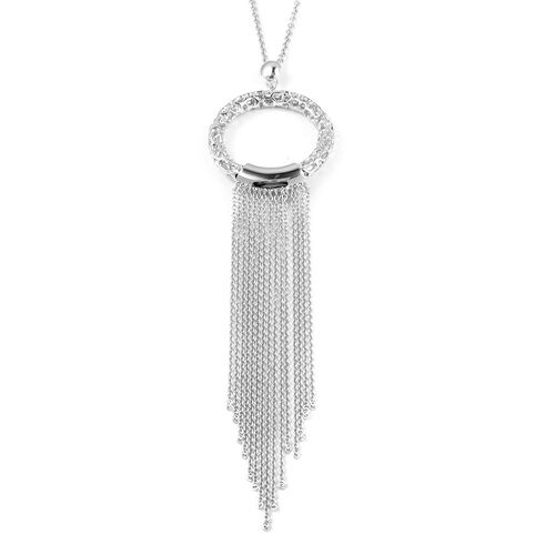 RACHEL GALLEY Allegro Tassel Pendant with Chain in Rhodium Plated Silver 20.28 Grams Size 30 Inch