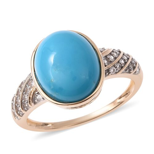 3.30 Ct Sleeping Beauty Turquoise and Zircon Ring in 9K Yellow Gold 2.04 Grams