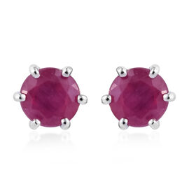 9K White Gold AAA African Ruby (Rnd) Stud Earrings 1.500 Ct.