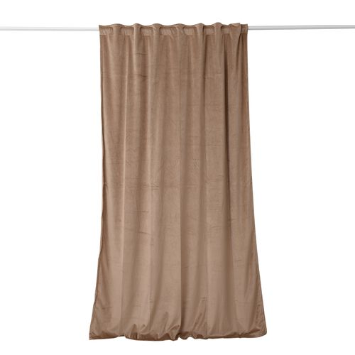 Luxury Edition - Extremely Soft Short Pile Panel Curtain with Hidden Loops in Tan Colour (Size in Cm