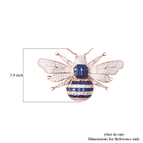 Lustro Stella - Mystery Setting Simulated Blue Sapphire, Simulated Champagne and White Diamond Bee Brooch in Two Tone Overlay Sterling Silver