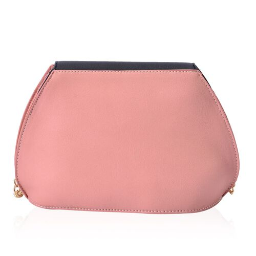 Sofia Dusk Pink and Black Colour Block Crossbody Bag with Chain Strap (Size 20x15x10 Cm)